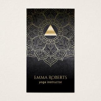 Cartes De Visite Mandala de Lotus de triangle d'or d'instructeur de