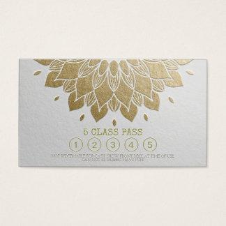 Cartes De Visite Mandala de relief d'or blanc de passage de classe