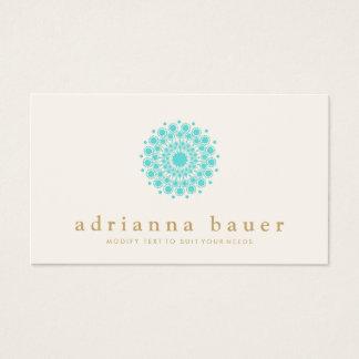 Cartes De Visite Mandala élégant simple de bleu de turquoise