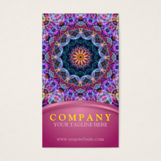 Cartes De Visite Mandala pourpre de Lotus avec le rose