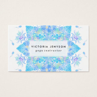 Cartes De Visite Mandala tiré par la main d'aquarelle florale bleue