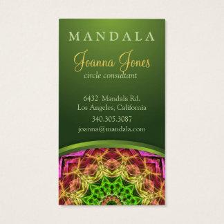 Cartes De Visite Mandala vert de fleur