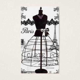 Cartes De Visite Mannequin blanc noir de mode de Paris