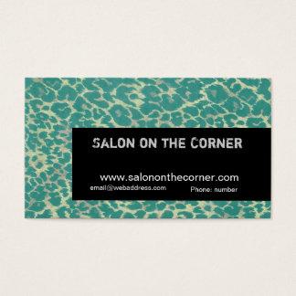 Cartes De Visite Maquilleur à la mode de léopard vert de puma
