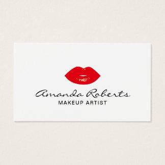 Cartes De Visite Maquilleur élégant de lèvres rouges