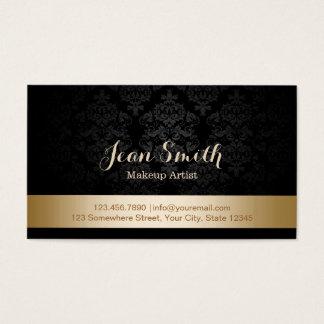 Cartes De Visite Maquilleur rayé de damassé de feuille d'or