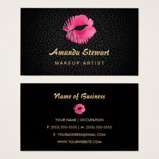 Cartes De Visite Maquilleur rose de guépard de noir de baiser de