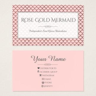 Cartes De Visite Maquilleur rose de LipSense de sirène d'or