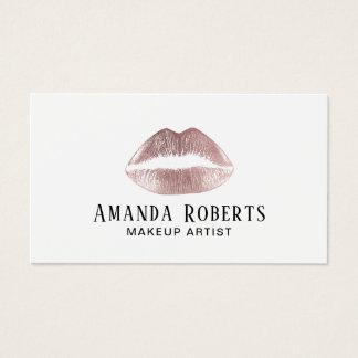Cartes De Visite Maquilleur rose de minimaliste de lèvres d'or