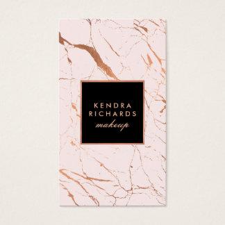 Cartes De Visite Maquilleur rose et rose de marbre d'or
