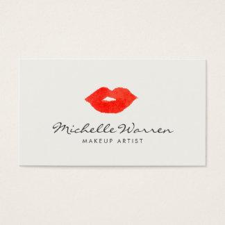 Cartes De Visite Maquilleur rouge audacieux d'aquarelle de lèvres