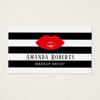 Cartes De Visite Maquilleur rouge de lèvres de rayures modernes