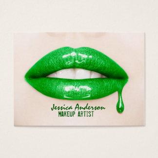 Cartes De Visite Maquilleur vert de rouge à lèvres