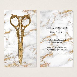 Cartes De Visite Marbre à la mode #2 de ciseaux d'antiquité d'or de