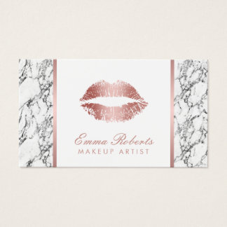 Cartes De Visite Marbre blanc moderne de lèvres roses d'or de