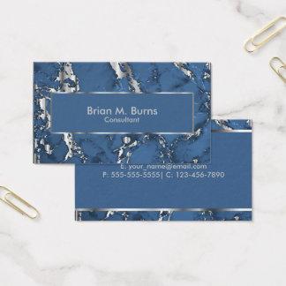 Cartes De Visite Marbre bleu de denim et conception argentée