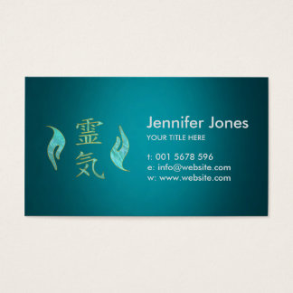 Cartes De Visite Marbre d'or de symboles de Reiki et de mains