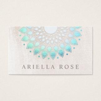 Cartes De Visite Marbre floral de blanc de Lotus de turquoise