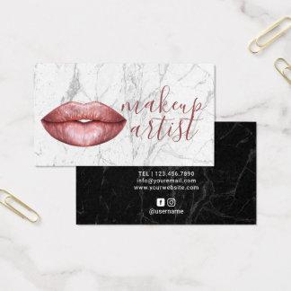 Cartes De Visite Marbre moderne d'or de maquilleur rose de lèvres