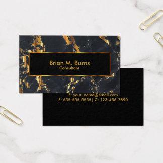 Cartes De Visite Marbre noir et conception métallique d'or