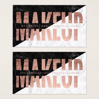Cartes De Visite Marbre rose de typographie d'or coupé par bloc de