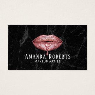 Cartes De Visite Marbre rose d'obscurité de lèvres d'égouttement