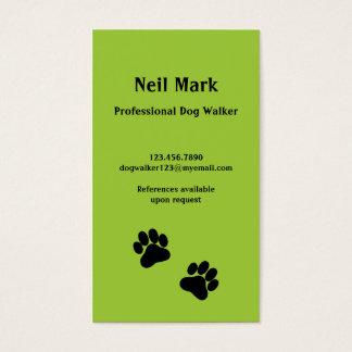 Cartes De Visite Marcheur de chien d'empreinte de patte en vert