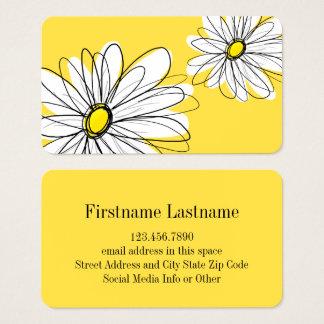 Cartes De Visite Marguerite lunatique jaune et blanche avec le