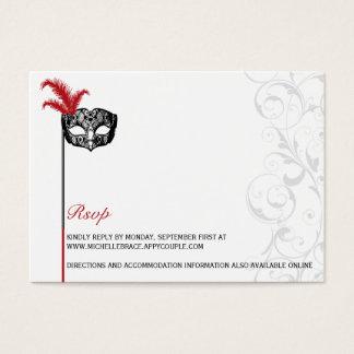 Cartes De Visite Mascarade noire rouge élégante RSVP