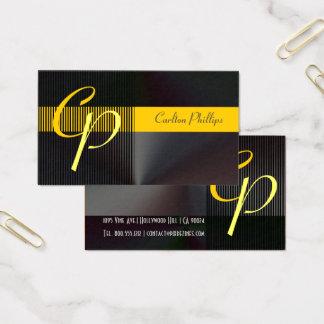Cartes De Visite Masculin a balayé le monogramme en acier