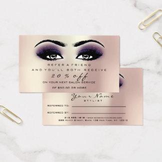 Cartes De Visite Mèches de violette de rose rose de maquillage de