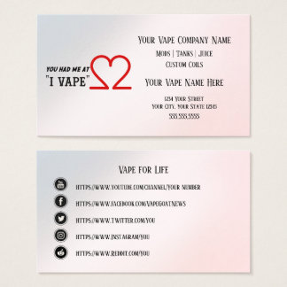 Cartes De Visite Médias de Social d'affaires de VAPE | I VAPE