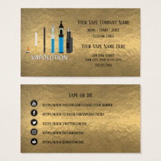 Cartes De Visite Médias de Social d'affaires d'or de VAPE |