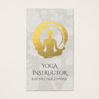 Cartes De Visite Méditation de yoga de calligraphie de feuille d'or