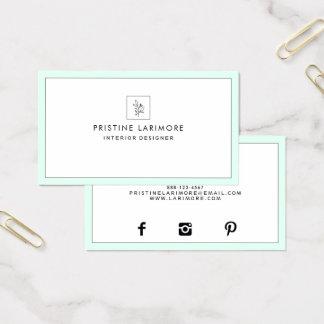 Cartes De Visite Menthe élégante de ★