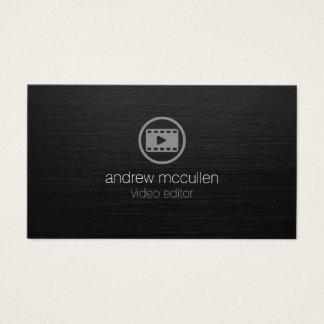 Cartes De Visite Métal balayé par obscurité d'icône de clip vidéo