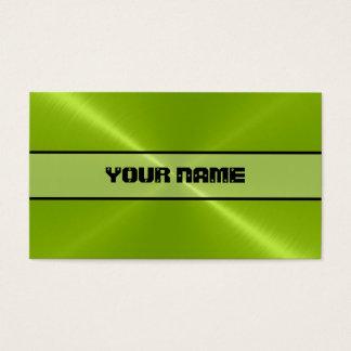 Cartes De Visite Métal brillant vert d'acier inoxydable