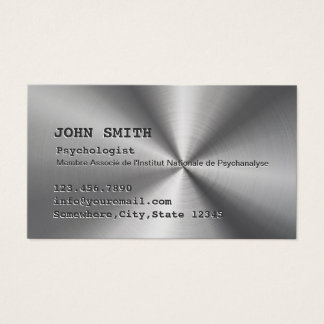 Cartes De Visite Métal d'acier inoxydable de Faux de psychologue