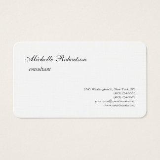 Cartes De Visite Minimaliste simple blanc noir de toile de la