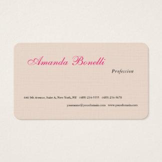 Cartes De Visite Minimaliste simple rose de toile de luxe de