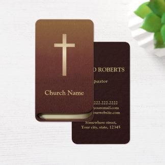 Cartes De Visite Ministre livre de pasteur d'église de bible de