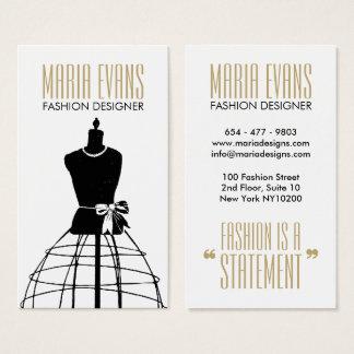 Cartes De Visite Mode chic de mannequin blanc noir vintage d'or