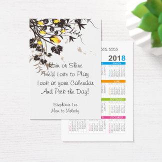 Cartes De Visite Modèle de calendrier des roses 2018 de télécarte