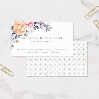 Cartes De Visite Modèle fait sur commande floral de pivoine
