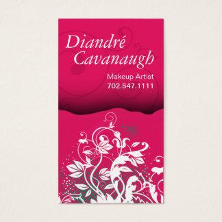 Cartes De Visite Modèle floral grunge de maquilleur de mod