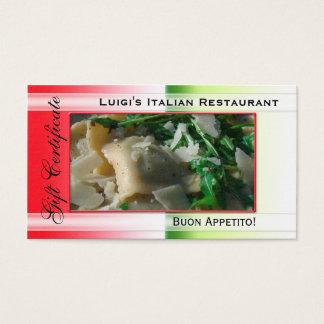 Cartes De Visite Modèle italien de certificat-prime de restaurant