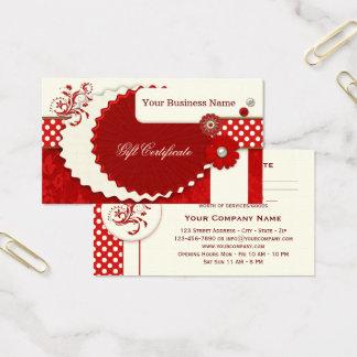 Cartes De Visite Modèle rouge de fête de certificat-prime de Noël
