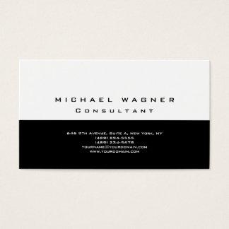 Cartes De Visite Moderne à la mode blanc noir simple simple
