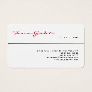 Cartes De Visite Moderne créatif de plaine à la mode rouge blanche