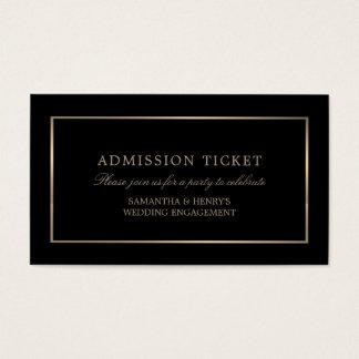 Cartes De Visite Moderne et lisse, noir et or, billet d'admission